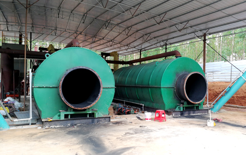3 sets 10T waste tire pyrolysis plant started operating of customers from Zhanjiang city, Guangdong Province, China