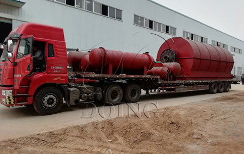 One set 12 T/D waste tyre to oil plant delivery to Hebei, China