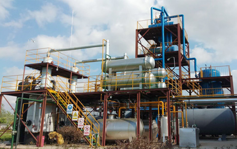 Used motor oil to diesel fuel refinery plant