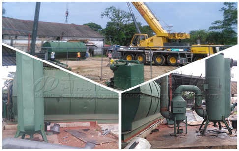 The secondary installation of the waste tyre pyrolysis to oil machine in Panama