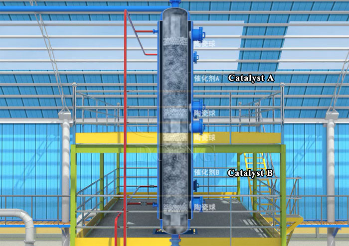 pyrolysis oil color and smell removing system