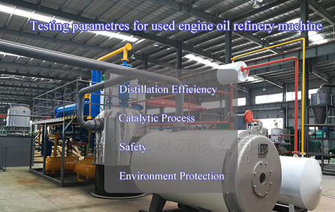 What are the testing parametres for used engine oil refinery machine?